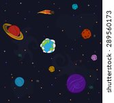 space pattern with planets and... | Shutterstock .eps vector #289560173
