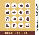 dishes icon set | Shutterstock .eps vector #289561637
