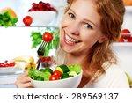 Happy Woman Eats Healthy Food...