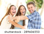 three happy teenagers laughing...   Shutterstock . vector #289606553