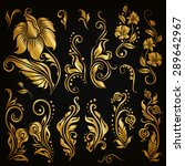 Set Of Decorative Hand Drawn...