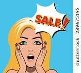 pop art woman sale sign. vector ... | Shutterstock .eps vector #289675193