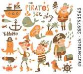 Lovely Pirate Set In Cartoon...