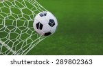 soccer ball in goal with green... | Shutterstock . vector #289802363