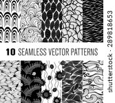black and white wave and floral ... | Shutterstock .eps vector #289818653