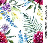 watercolor  floral pattern... | Shutterstock . vector #289822937