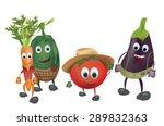 set of  cartoon vegetables with ... | Shutterstock .eps vector #289832363