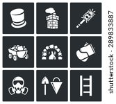 chimney and heating coal icons... | Shutterstock .eps vector #289833887