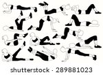 silhouettes of a girls doing a ... | Shutterstock .eps vector #289881023