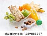 school lunch with sandwich on... | Shutterstock . vector #289888397