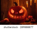 glowing carved pumpkin or jack... | Shutterstock . vector #289888877