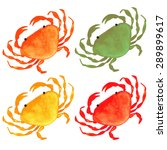 Watercolor Colorful Crabs Set...