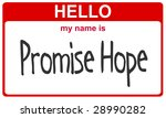 hello my name is promise hope red sticker - stock photo