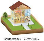 isometric house interior with...   Shutterstock .eps vector #289906817