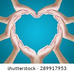 hands make heart shape on blue...   Shutterstock . vector #289917953