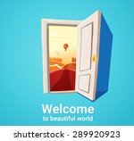 ... Cartoon illustration of open door and sunset fantasy nature. Freedom concept.  sc 1 st  Vecteezy & Door Free Vector Art - (1446 Free Downloads)