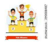 Kids Sport Winners Standing On...