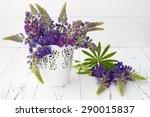 meadow flowers lupines bouquet...   Shutterstock . vector #290015837