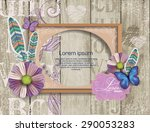 scrapbook elements on  wooden... | Shutterstock .eps vector #290053283