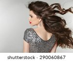hair. beautiful brunette girl.... | Shutterstock . vector #290060867
