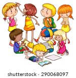 boys and girls doing different... | Shutterstock .eps vector #290068097