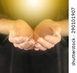 healer with golden healing orb... | Shutterstock . vector #290101907