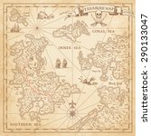 """A High detail, grunge Vector """"Treasure Map"""" with lots of decoration hand drawn with incredible details."""