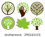 Set Of Logos Of The Trees. Han...