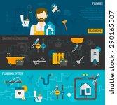 plumber horizontal banner set... | Shutterstock .eps vector #290165507