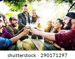 diverse people friends hanging... | Shutterstock . vector #290171297