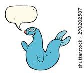 cartoon happy seal with speech... | Shutterstock . vector #290202587