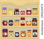 jars of homemade jam with... | Shutterstock .eps vector #290223473