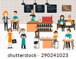 people meeting in the coffee... | Shutterstock .eps vector #290241023