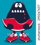 cute monster  watermelon vector ... | Shutterstock .eps vector #290267657