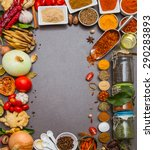 group of indian spices and... | Shutterstock . vector #290283893