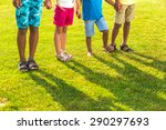 four children are staying on... | Shutterstock . vector #290297693