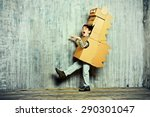 little dreamer boy playing with ... | Shutterstock . vector #290301047