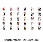 many colleagues team over white  | Shutterstock . vector #290325203