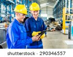 two workers in production plant ... | Shutterstock . vector #290346557