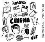 movie themed doodle | Shutterstock .eps vector #290372813