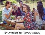 happy friends in the park... | Shutterstock . vector #290398007