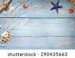 seashells on blue boards... | Shutterstock . vector #290435663