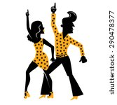 Silhouette Of A Dancing Disco...