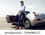 handsome man near the car.... | Shutterstock . vector #290498117
