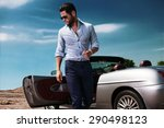 handsome man near the car.... | Shutterstock . vector #290498123