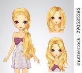 beautiful fashion blonde girl... | Shutterstock .eps vector #290535263