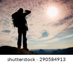 tourist with big backpack stand ... | Shutterstock . vector #290584913