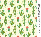 seamless cute cactus flower... | Shutterstock .eps vector #290607647