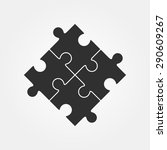 four puzzle pieces vector... | Shutterstock .eps vector #290609267