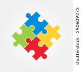 four puzzle colored pieces... | Shutterstock .eps vector #290609273